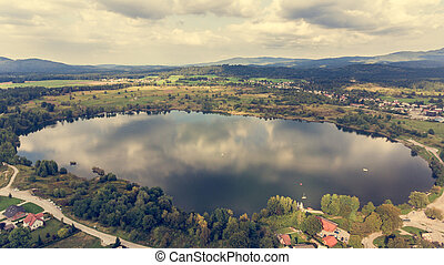 Aerial view of a lake.