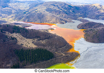 Aerial view of a lake filled with chemical waste water