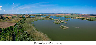 Aerial view of a lake