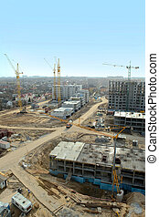 Aerial view of a large construction site.