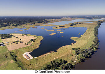Aerial view of a large inland irrigation dam in regional ...