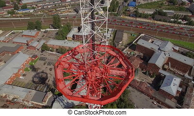 aerial view of a Large transmission tower