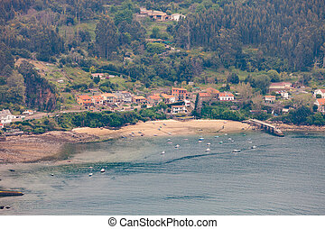 Aerial view of a little village in Galicia