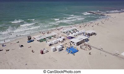 Aerial view of a luxurious recreation area on the beach and...