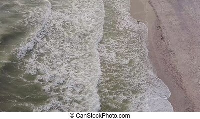 Aerial view of a luxurious recreation area on the sand beach...