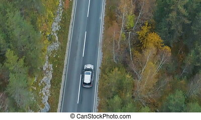 aerial view of a luxury car driving on road through the forest