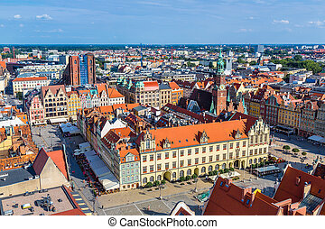 Aerial view of a Market Square in Wroclaw, Poland in a summer day