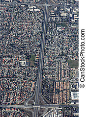 Aerial view of a massive highway intersection in