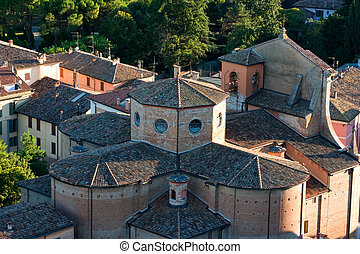 aerial view of a medioeval church - picturesque italian...