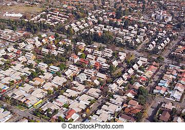 Santiago de Chile - Aerial view of a middle class...