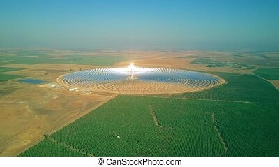 Aerial view of a modern circular solar power plant - Aerial...