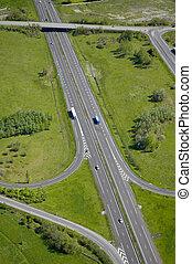 Aerial view of a motorway / Highway in France