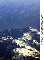 Aerial view of a mountain range