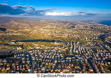 Aerial view of a neighborhood in suburban Limassol. Cyprus