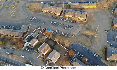 Aerial view of a neighborhood in the suburban residential quarters development aerial drone view above Brooklyn NY