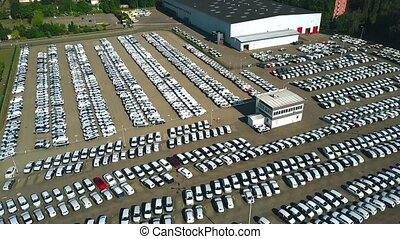 Aerial view of a new car parking