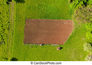 Aerial view of a plowed agricultural field
