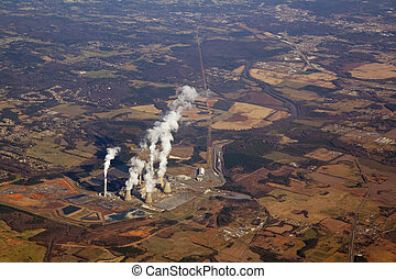 Aerial view of a power plant