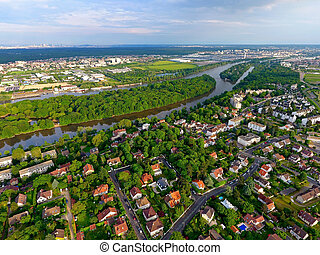 Aerial view of a residential area in Andresy, Yvelines, France