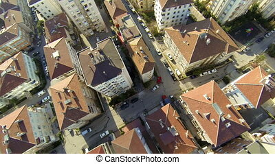 Aerial view of a residential area