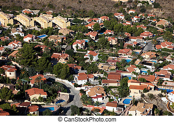 Aerial view of a residential district in southern Spain