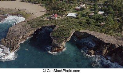 Aerial view of a rocky region of coastal Puerto Rico. ...