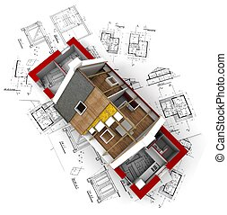 Aerial view of a roofless house on architect blueprints red
