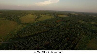 Aerial view of a Russian evening landscape - Beautiful...