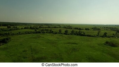 Aerial view of a Russian sunny landscape - Beautiful aerial...