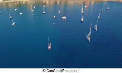 Aerial view of a sailboat near the coast of Majorca, Spain