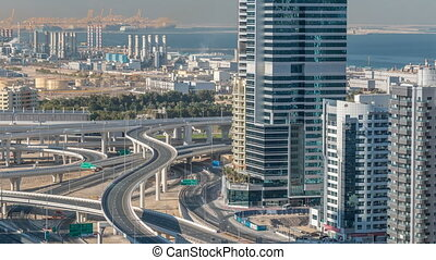 Aerial view of a sheikh zayed road intersection in a big...