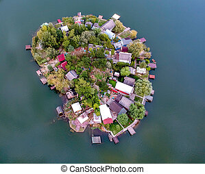 Aerial view of a Small island