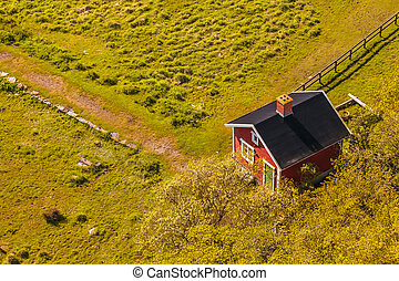 Aerial view of a small Swedish farm house