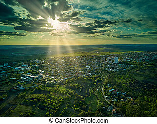 Aerial view of a small town in sunset.