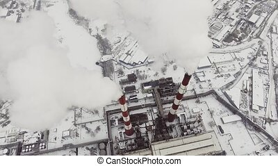 Aerial view of a smokestacks
