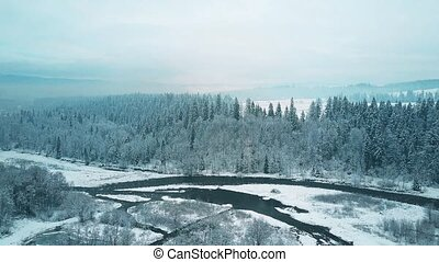 Aerial view of a snowy forest and a small river in winter. The Tatra mountains, Poland