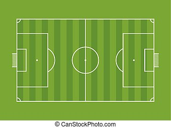 Aerial view of a soccer field drawn with white line on green background. Vector image