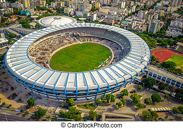 Maracana Stadium - Aerial view of a soccer field in a city,...