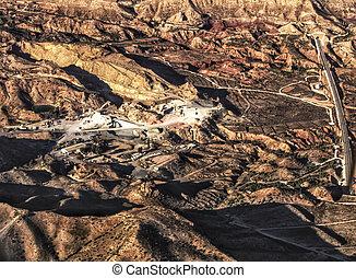 Aerial view of a stone quarry