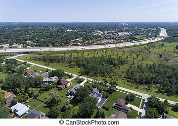 Aerial view of a suburban highway