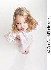 Aerial view of a sulking blonde kid in her pajamas - Aerial...