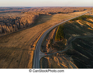 Aerial view of a summer road