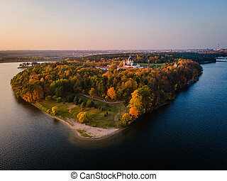 Aerial view of a sunset at Pazaislis monastery in Kaunas, Lithuania in autumn