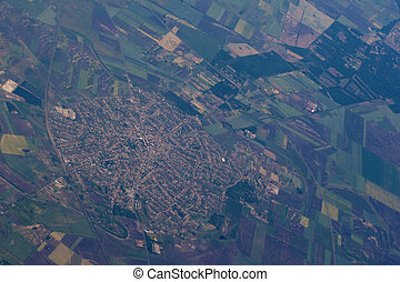 Aerial view of a town