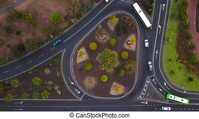 Aerial view of a traffic in downtown Los Cristianos on...