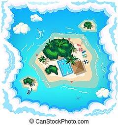 Aerial view of a tropical beach