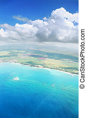 Aerial view of a tropical island in Pacific ocean