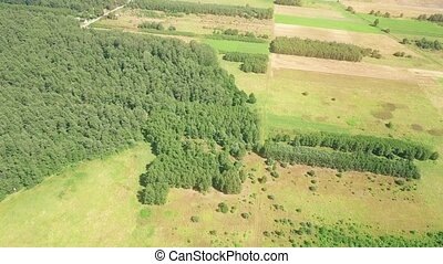 Aerial view of a typical Eastern Europe countryside on a...