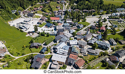 Aerial view of a village in the alpine mountains, Lofer, Austria