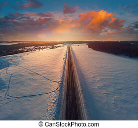 Aerial view of a winter road